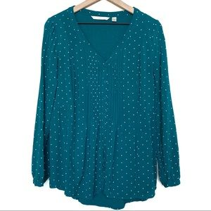 Lauren Conrad Teal Polka Dot Button Front Blouse